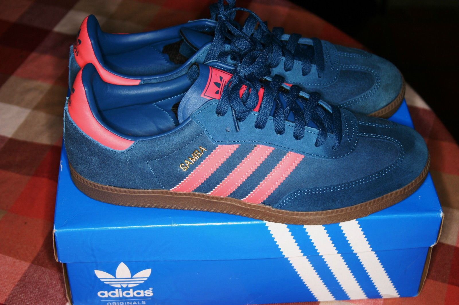 official photos ab133 9fe1e Mens shoes - brand new ltd edition adidas samba trainers in blue   pink  with gum sole size 9   m,adidas runner salmon,adidas shoes  clearance,timeless ...