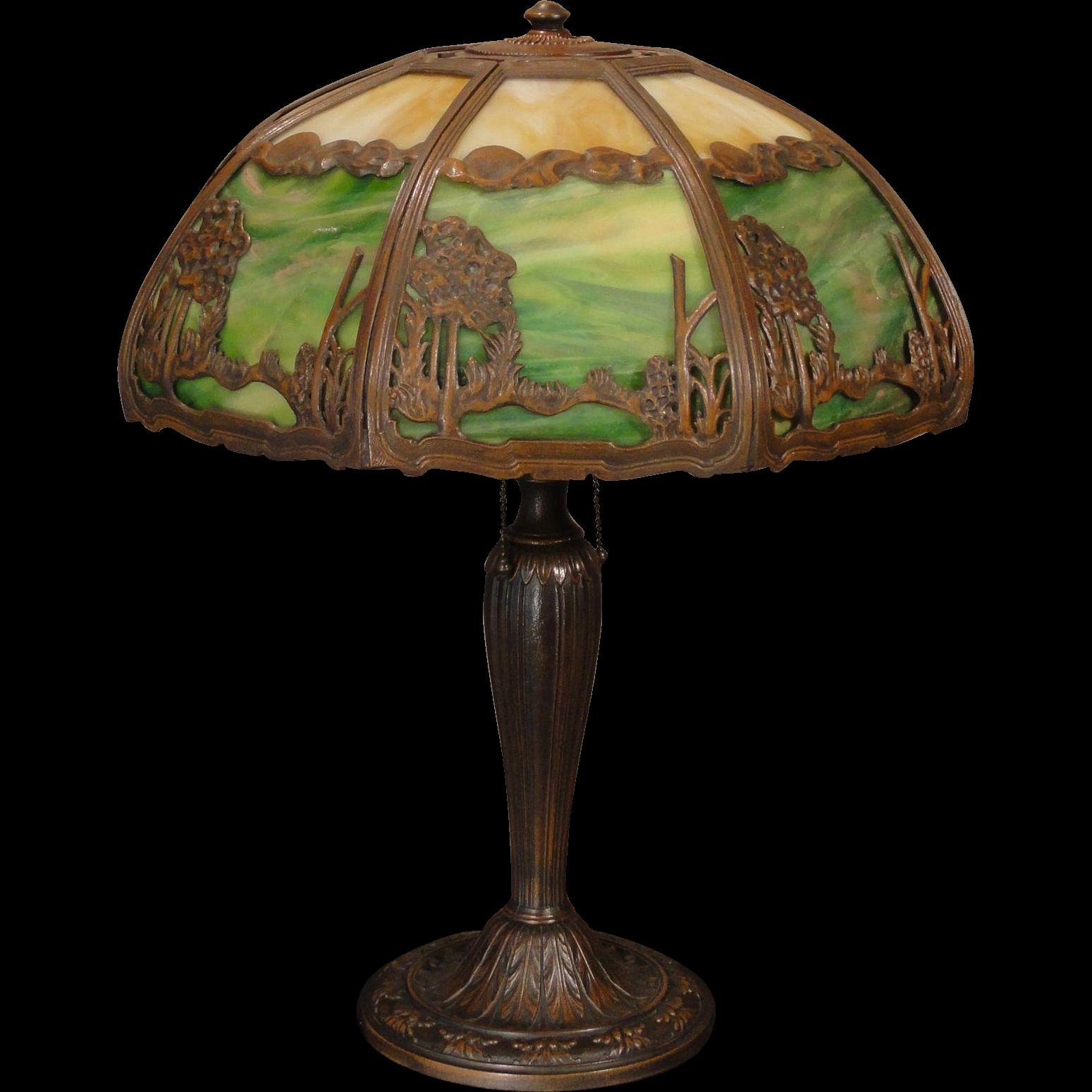 Large Rare Arts Crafts Scenic Double Panel Slag Gl Lamp