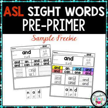 ASL American Sign Language Sight Word Practice Packet (Pre