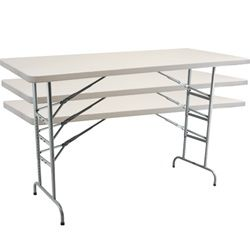 Advantage 6 Adjule Plastic Folding Table Commercial Grade Light Weight Ft 30 X 72 Inch With Gray Granite Top And