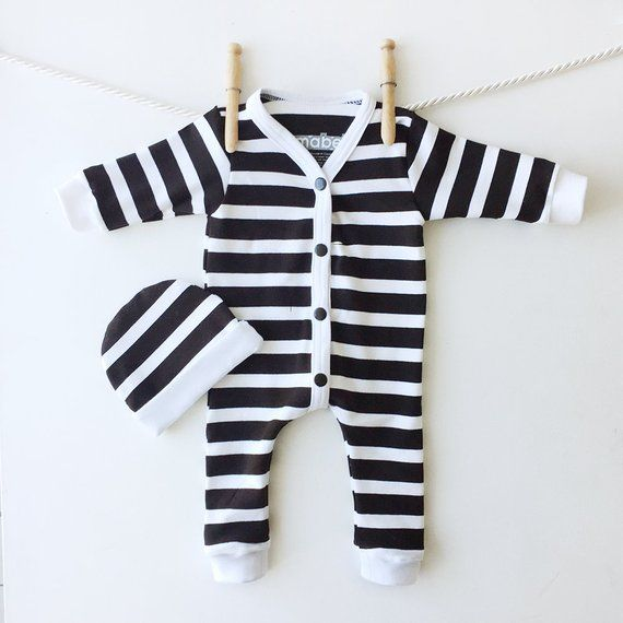 724205ff08a08 Black and White Stripes Infant Sleeper Set, Cute Baby Clothes ...