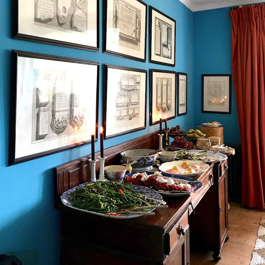 Lunch with Ben Pentreath and Charlie McCormick! Fabulous art wall and lunch! The Secret English Gardens and I Mean Secret! | laurel home