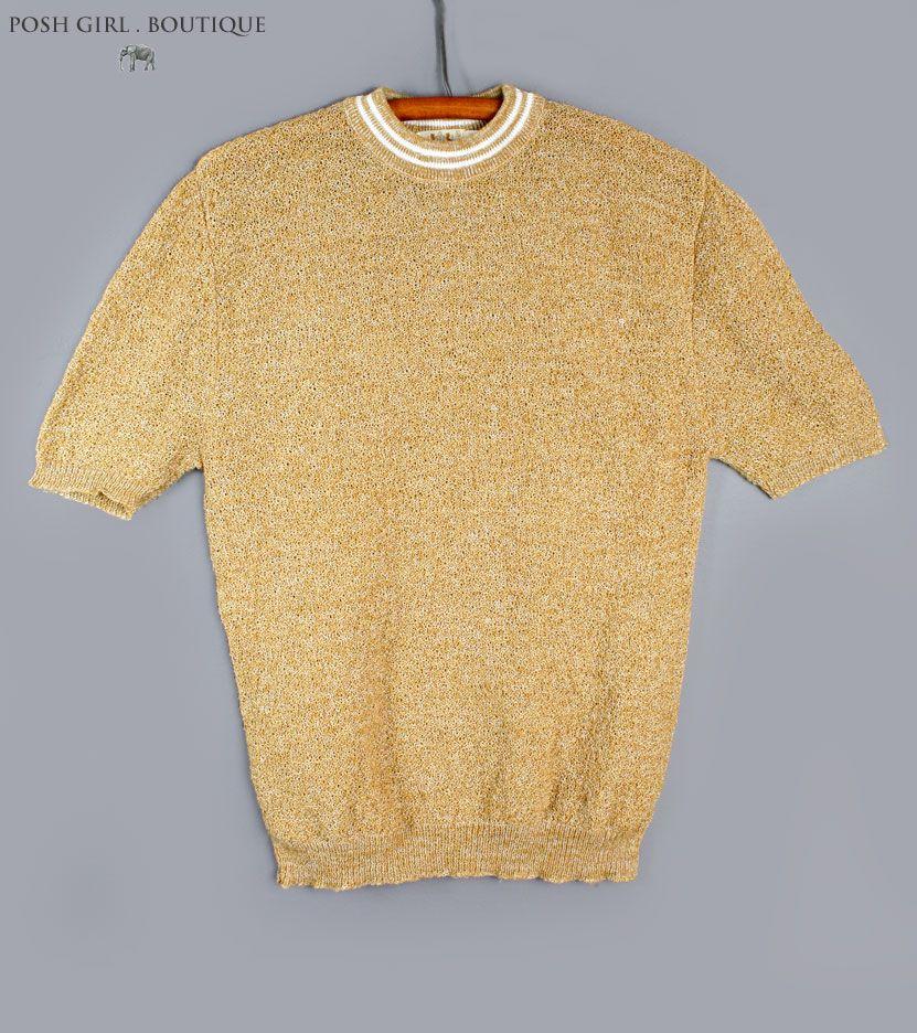 1960's Mens Gold Knit Pullover Shirt