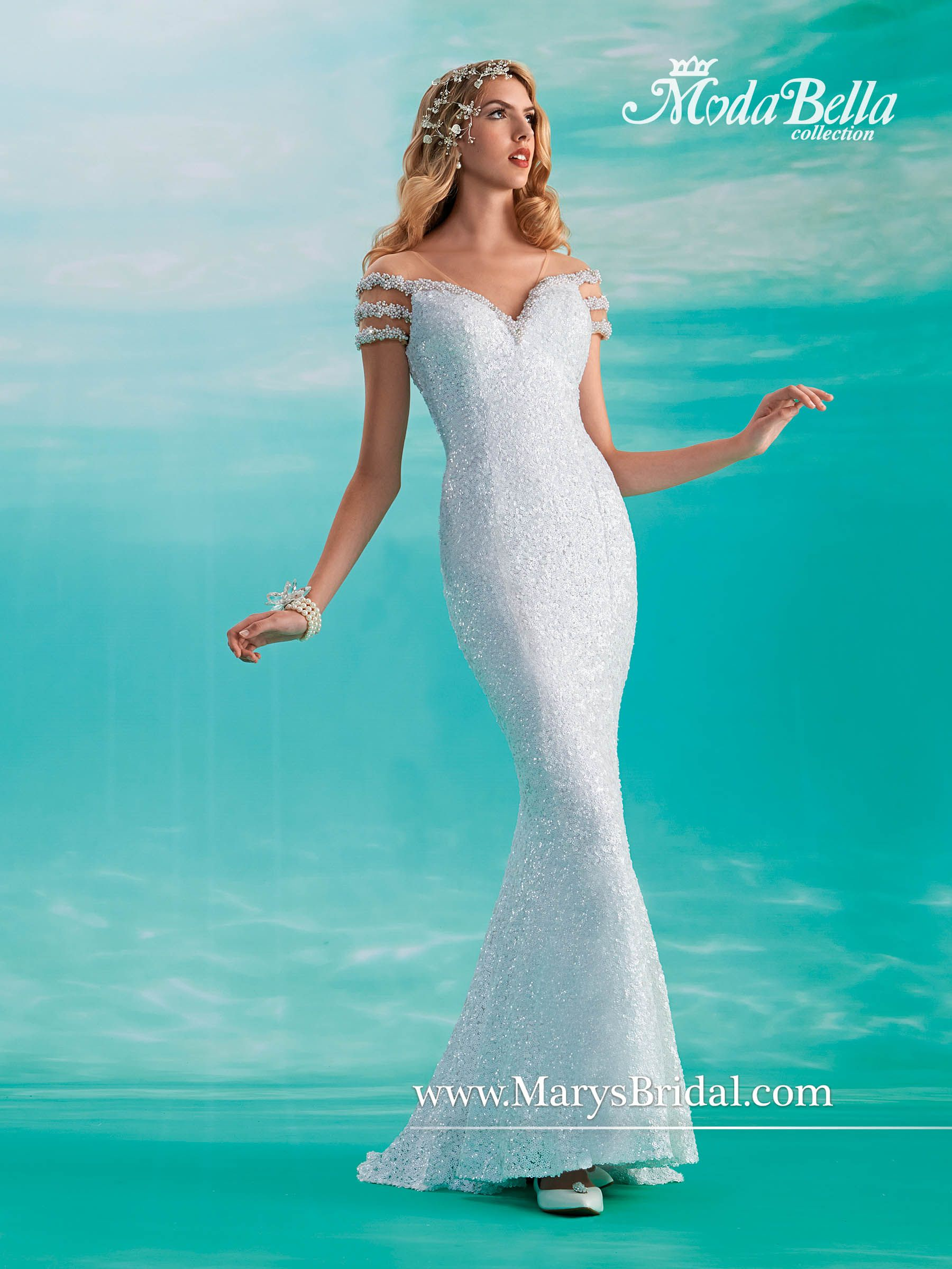 Mary\'s Bridal : Modal Bella : S15-3Y373 Fit and flare, all-over ...