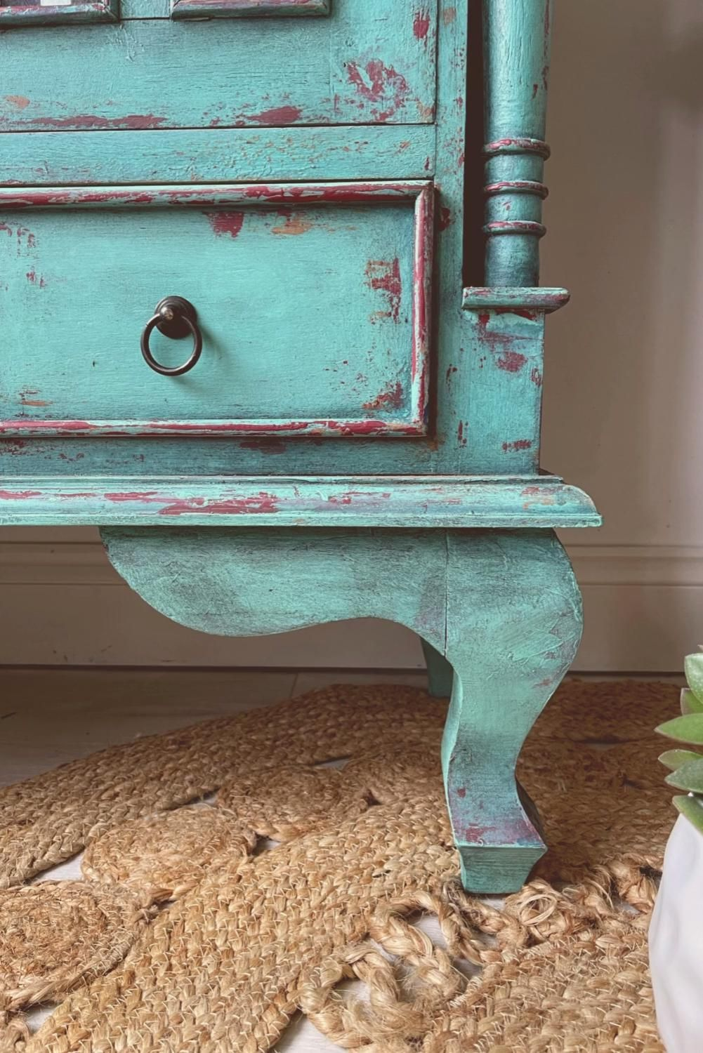 How to create a chippy turquoise bohemian cabinet makeover with Dixie Belle Paint