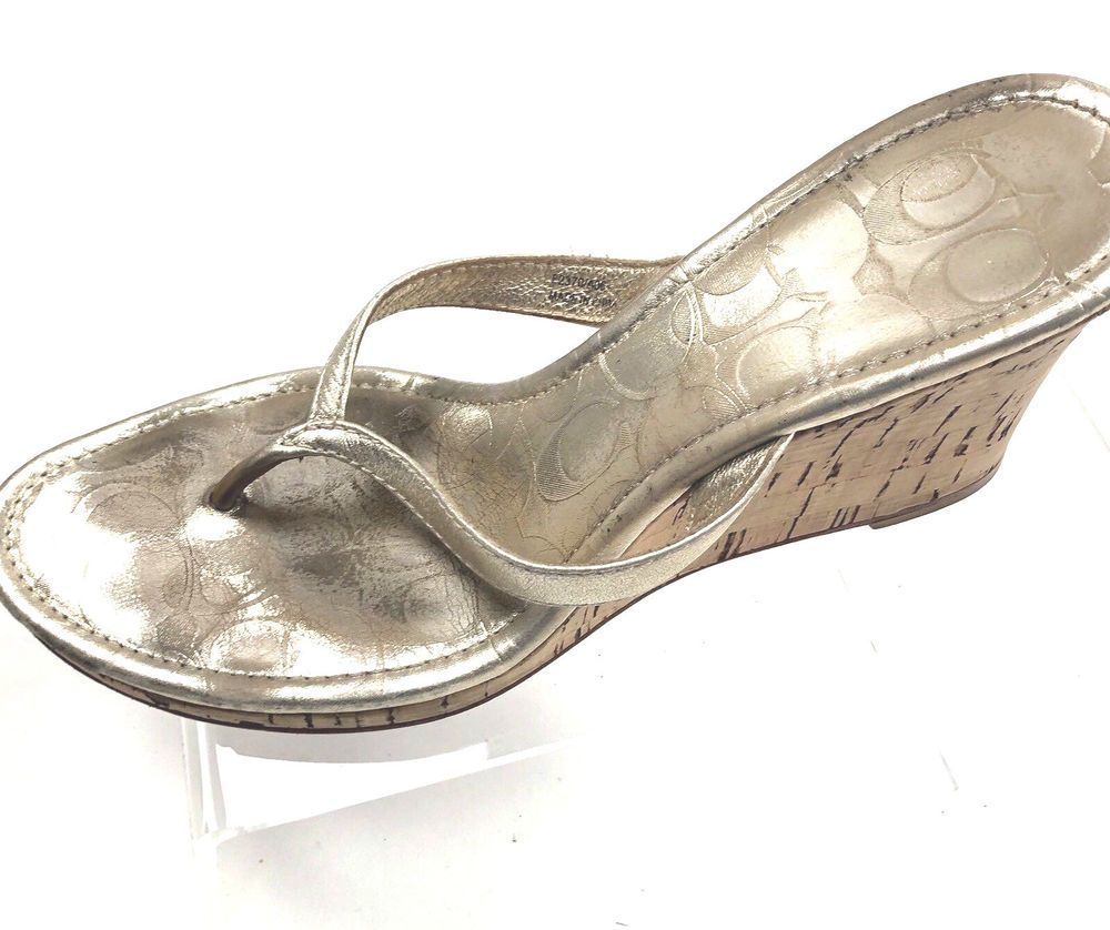 adce397fdb Coach Leather Thong Wedge 8.5M Lannie Gold Cork Heels Slides Shoes #Coach # Sandals #Casual