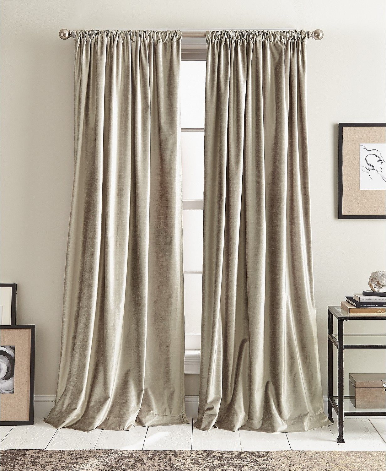 Dkny Modern Textured Velvet 50 X 96 Pole Top Pair Of Window