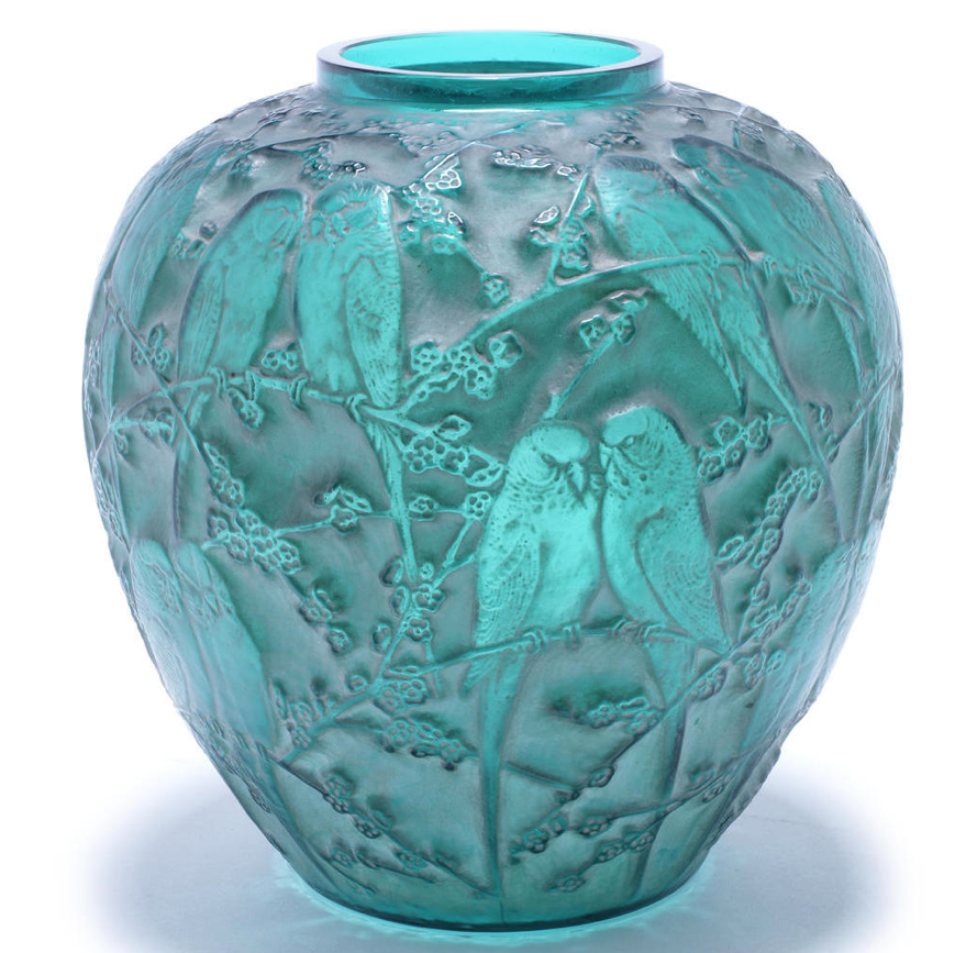 Ren Lalique Perruches A Vase Design 1919 Green Glass Frosted