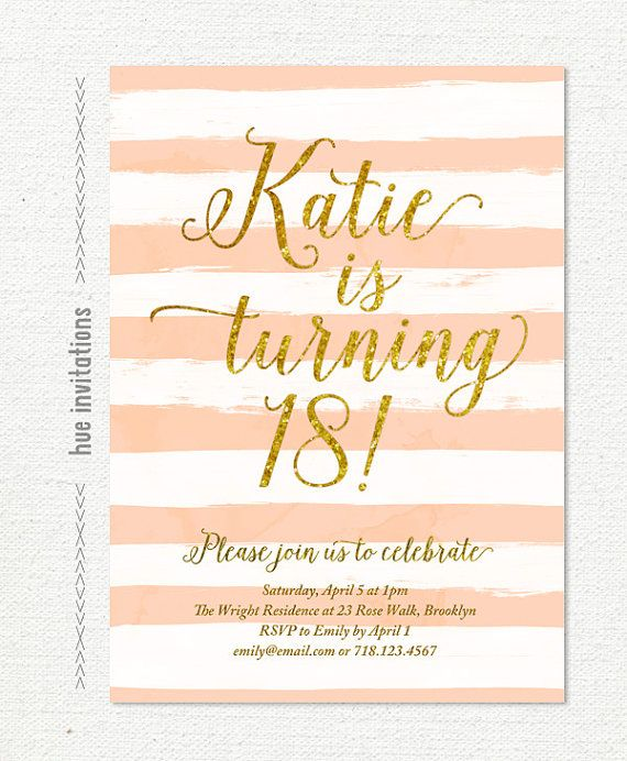 Digital printable 5x7 invitation customized for your event print items similar to stripes gold glitter birthday party invitation pink coral modern womens birthday invitation watercolor brushstrokes invite on etsy stopboris Choice Image