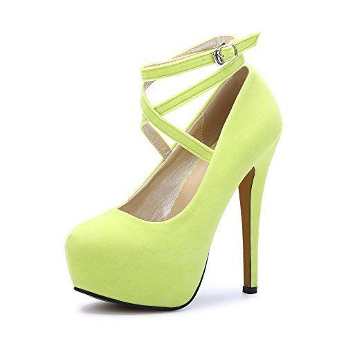 c15fad333e65d7 OCHENTA Femme Escarpins Bride Cheville Sexy Talon Aiguille Plateforme Epais  Fermeture Lacets Chaussures Club Soiree fluorescence Jaune 37 EU