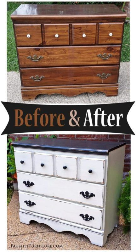 Dresser In Distressed Black Off White Before After White