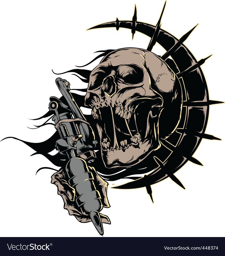 Skull With Tattoo Machine Logo Download A Free Preview Or High Quality Adobe Illustrator Ai Eps Pdf And High Resolution Machine Logo Tattoo Machine Tattoos