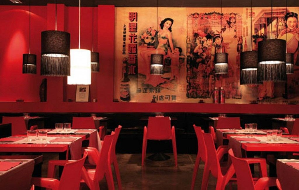 Red chinese restaurant interior designs