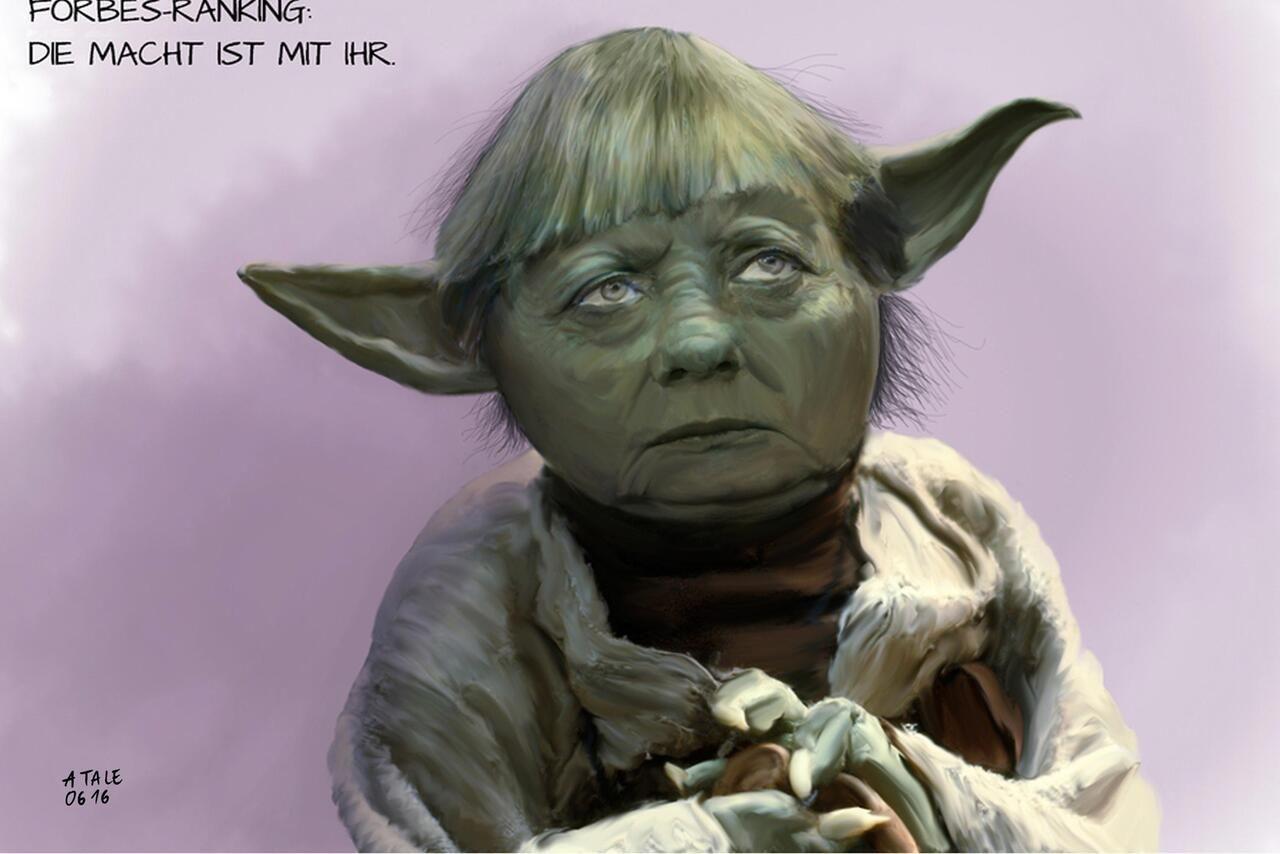 Bild zu Karikatur, Natale Agostino, Merkel, Forbes, Yoda   Kessel ...