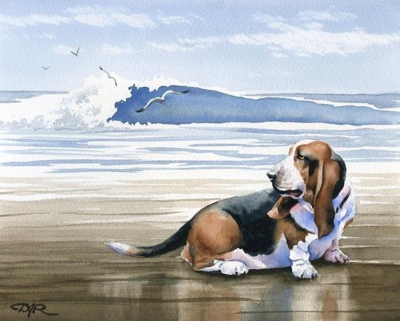 BASSET HOUND AT THE BEACH Dog Watercolor ART PRINT Signed by Artist DJ Rogers