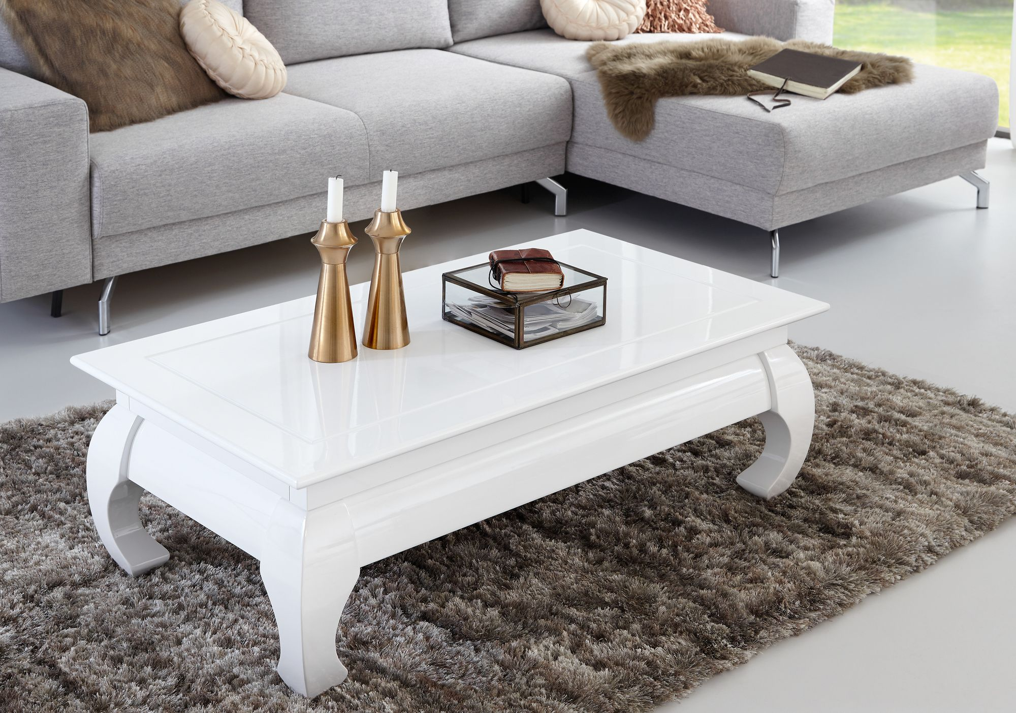 Beine Fiberglas Tischplatte Hochglanz Weiss Couchtisch Esstisch