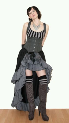 #Black & grey pleated tiered bustle #skirt. #victorian. steampunk. 8-10-12-14-16 ,  View more on the LINK: 	http://www.zeppy.io/product/gb/2/331813266629/