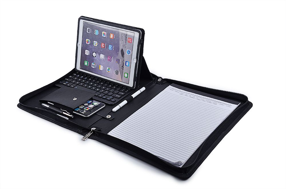 iPad Keyboard Portfolio, Executive Leather Padfolio Case with - leather resume portfolio