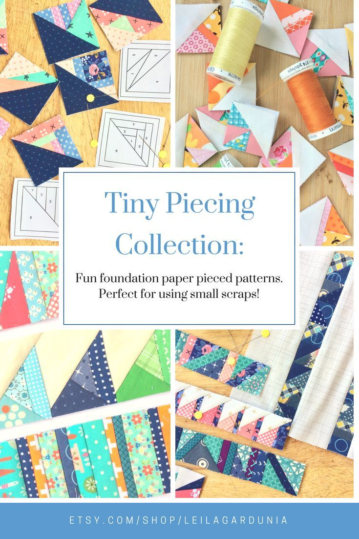 "Complete Tiny Piecing Collection - 1"", 2"", 3"" Scrappy Triangles & 1"", 2""  Scrappy Strips - foundation paper pieced quilt block patterns 