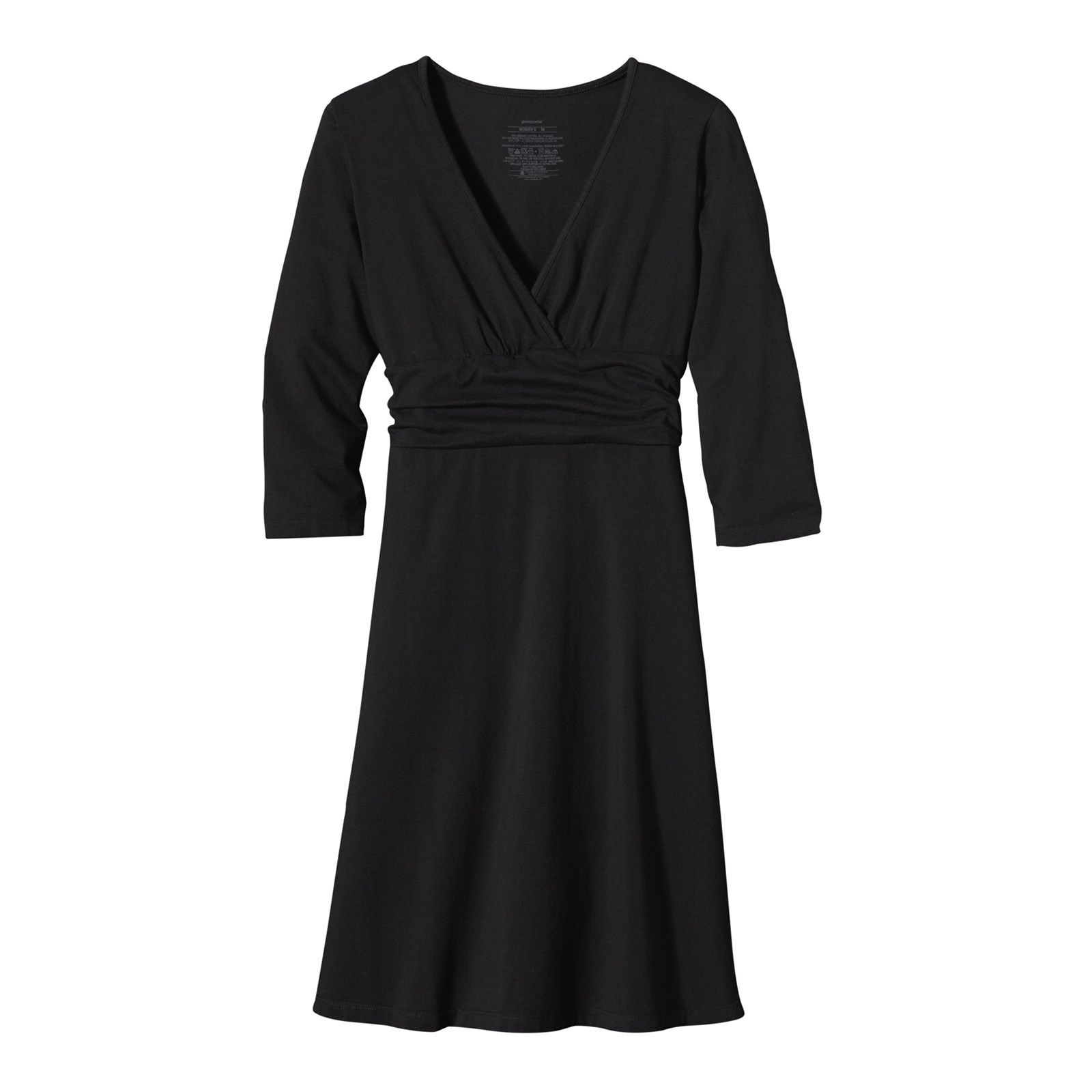 FEATURES of the Patagonia Women's Margot Long Sleeve Dress Soft organic cotton with stretch for mobility Deep V-neck with crossover detail Shirred under bust band lends support and style 3/4-length sleeves A-line hem falls above the knee SPECIFICATIONS of the Patagonia Women's Margot Long Sleeve Dress Slim fit 5.9-oz 96% organic cotton 4% spandex This product can only be shipped within the United States. Please don't hate us.