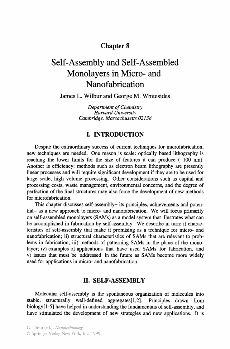 Self Assembly And Assembled Monolayers In Micro Molecular Nanotechnology Nanofabrication Phillips Academy Pinterest