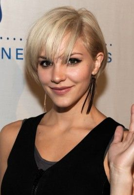 cute layered short blonde bob hairstyle with bangs