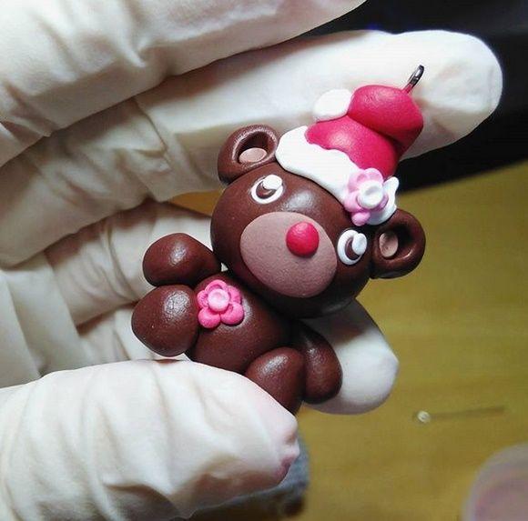Süßer Kleiner Bär Anhänger Für #weihnachten #fimo #polymerclay #diy  #selfmade