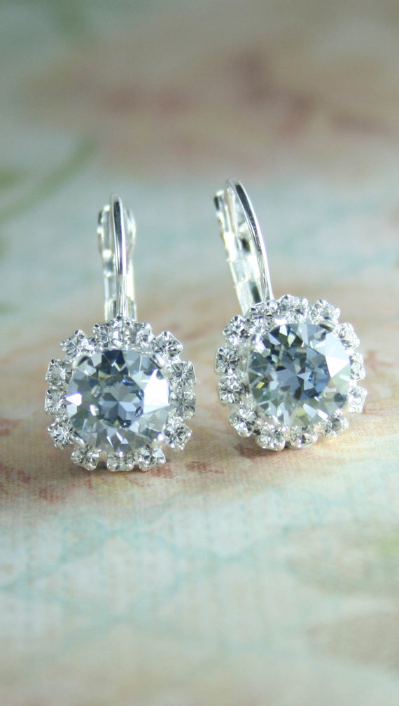 pale blue crystal earrings something blue wedding jewelry light