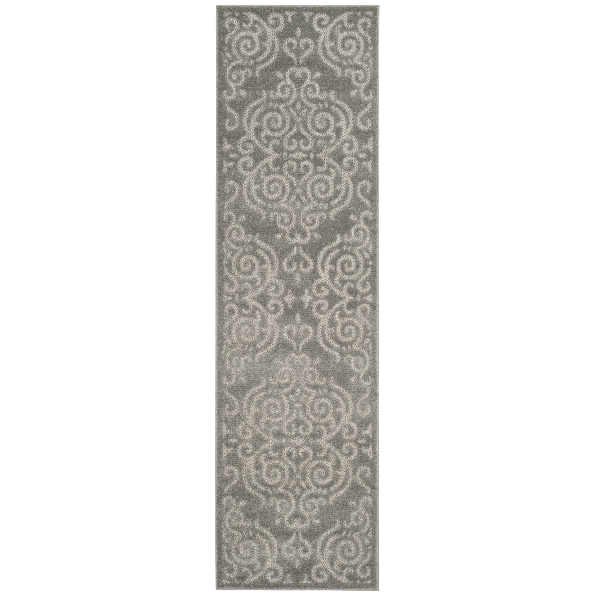 Safavieh Indoor/ Outdoor Cottage Scrolling Vines Grey/ Light Grey Runner (2' x 8') (COT932C-28), Size 2' x 8' (Polyester, Geometric)