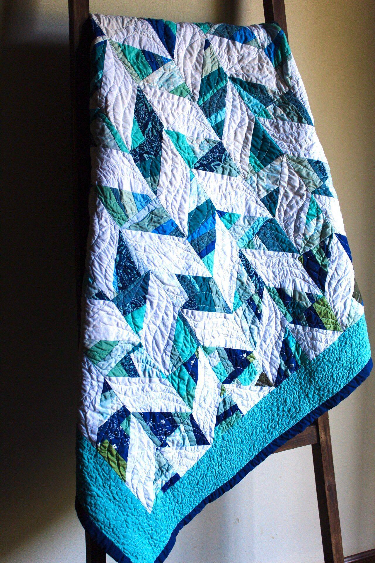 Turquoise Herringbone Scrap Baby Quilt
