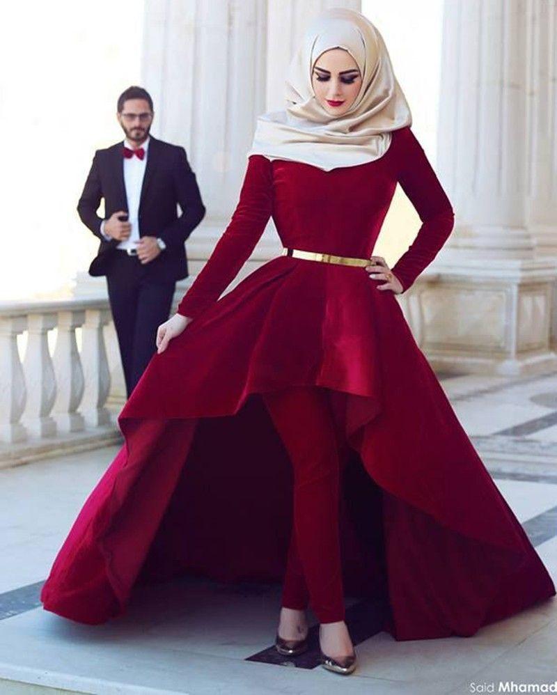 2015 Muslim Evening Dresses Ball Gown High Low Wine Red Velvet Hijab Islamic  Dubai Abaya Kaftan Long Evening Gown Prom Dress-in Evening Dresses from ... ba886c18a575