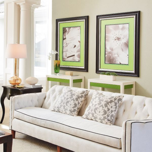 Love the idea of using black and white prints but using a colored ...