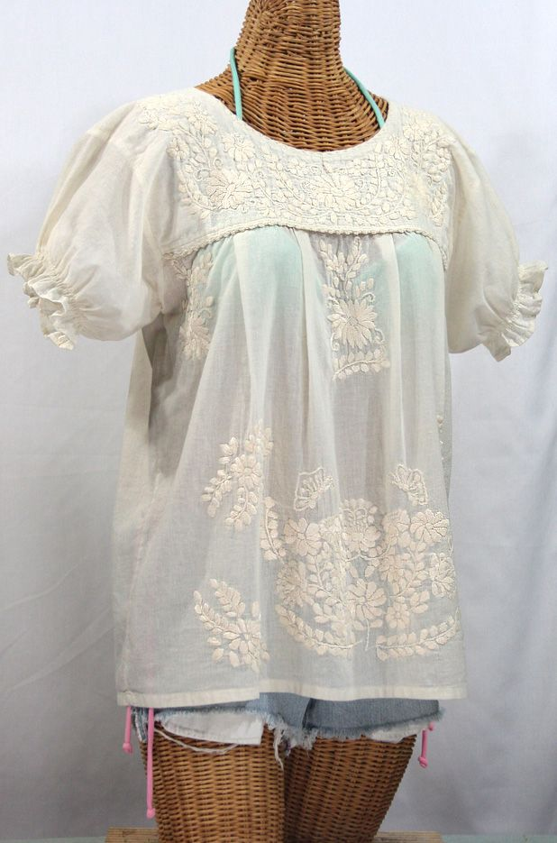 La Mariposa Corta Embroidered Mexican Style Peasant Top - All Off White #whiteembroidery