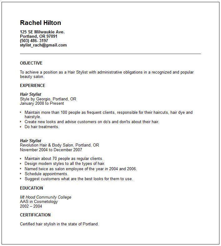 Hair Stylist Resumes Fashion Stylist Resume Objective Examples  Httpwww.resumecareer .