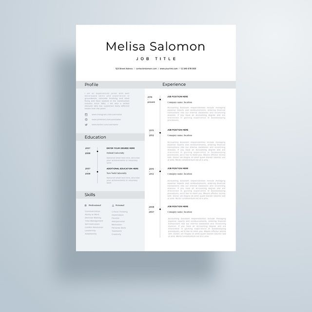 creative and professional resume template in microsoft