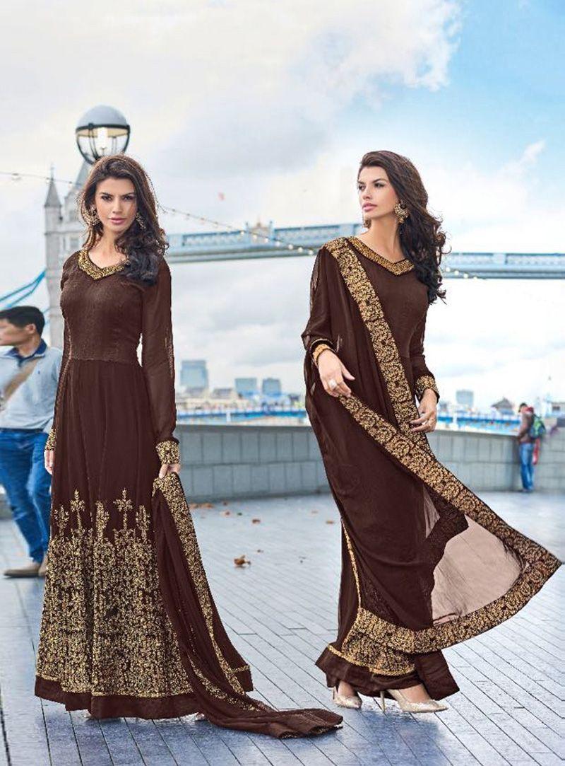 Brown silk long anarkali suit fashion of punjab pinterest