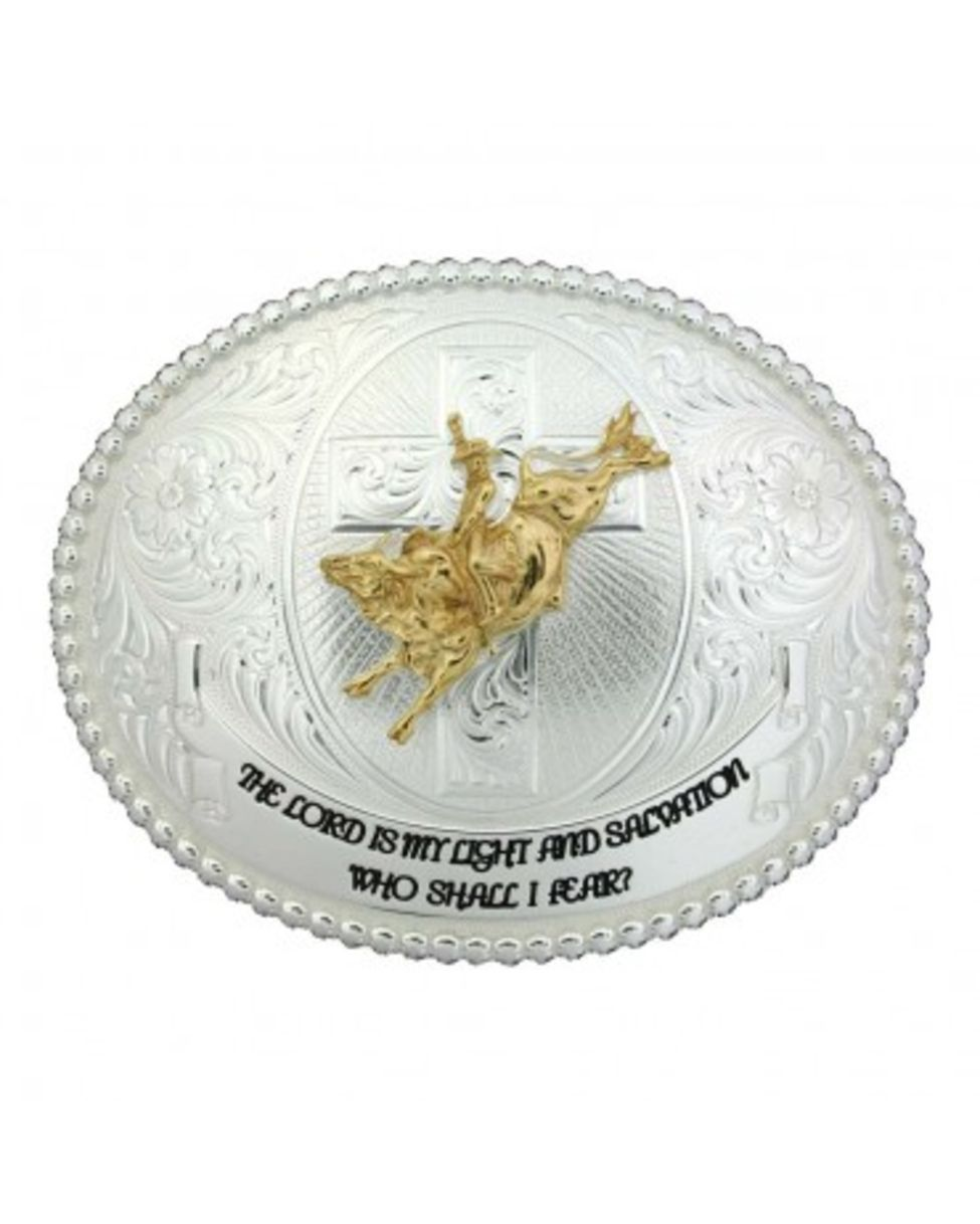 Faith And Wisdom Western Belt Buckle With Bull Rider And