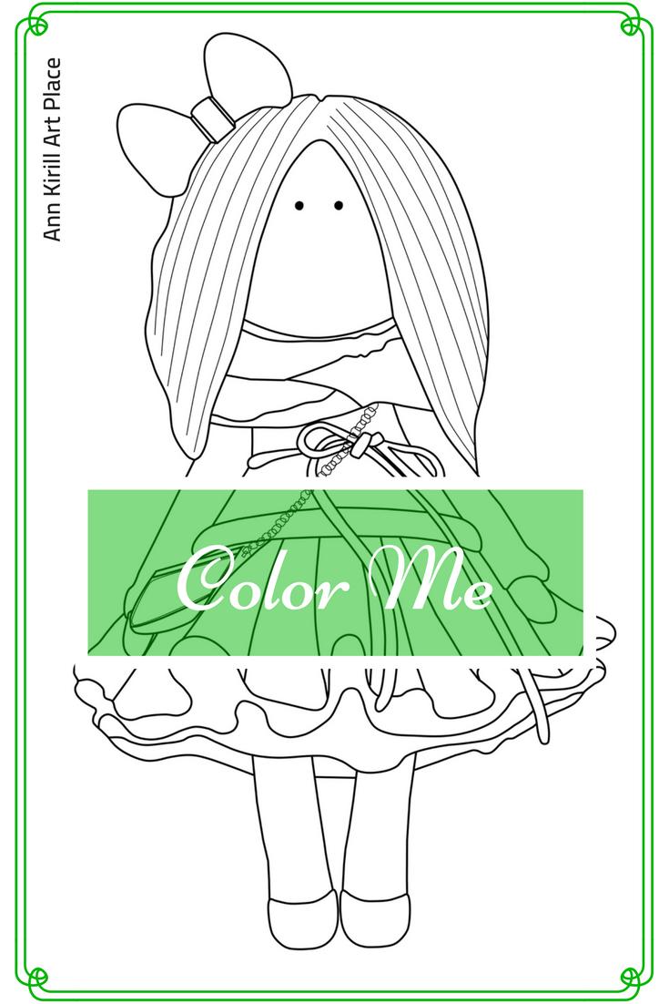 Color Me Baby, Girl Digital Stamp, Scrapbooking Doll, Coloring Art ...