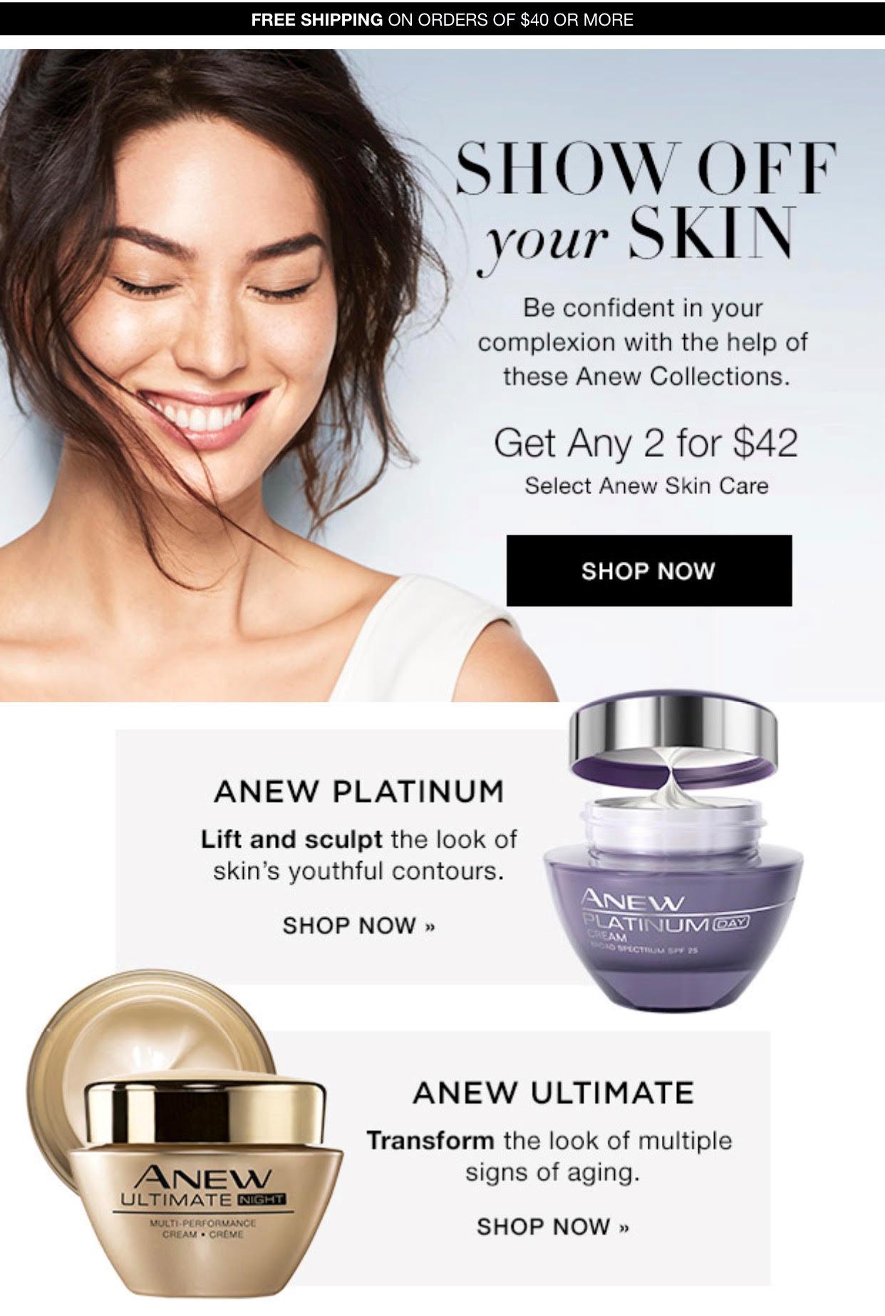 Anew Skin Care Sale - Get Any 2 for $42! See the deal: https://www.avon.com/promotions/19417?rep=tracykrueger&utm_content=buffer1e88b&utm_medium=social&utm_source=pinterest.com&utm_campaign=buffer #skincare #anew #avon #wrinkles #antiaging #skin #sales