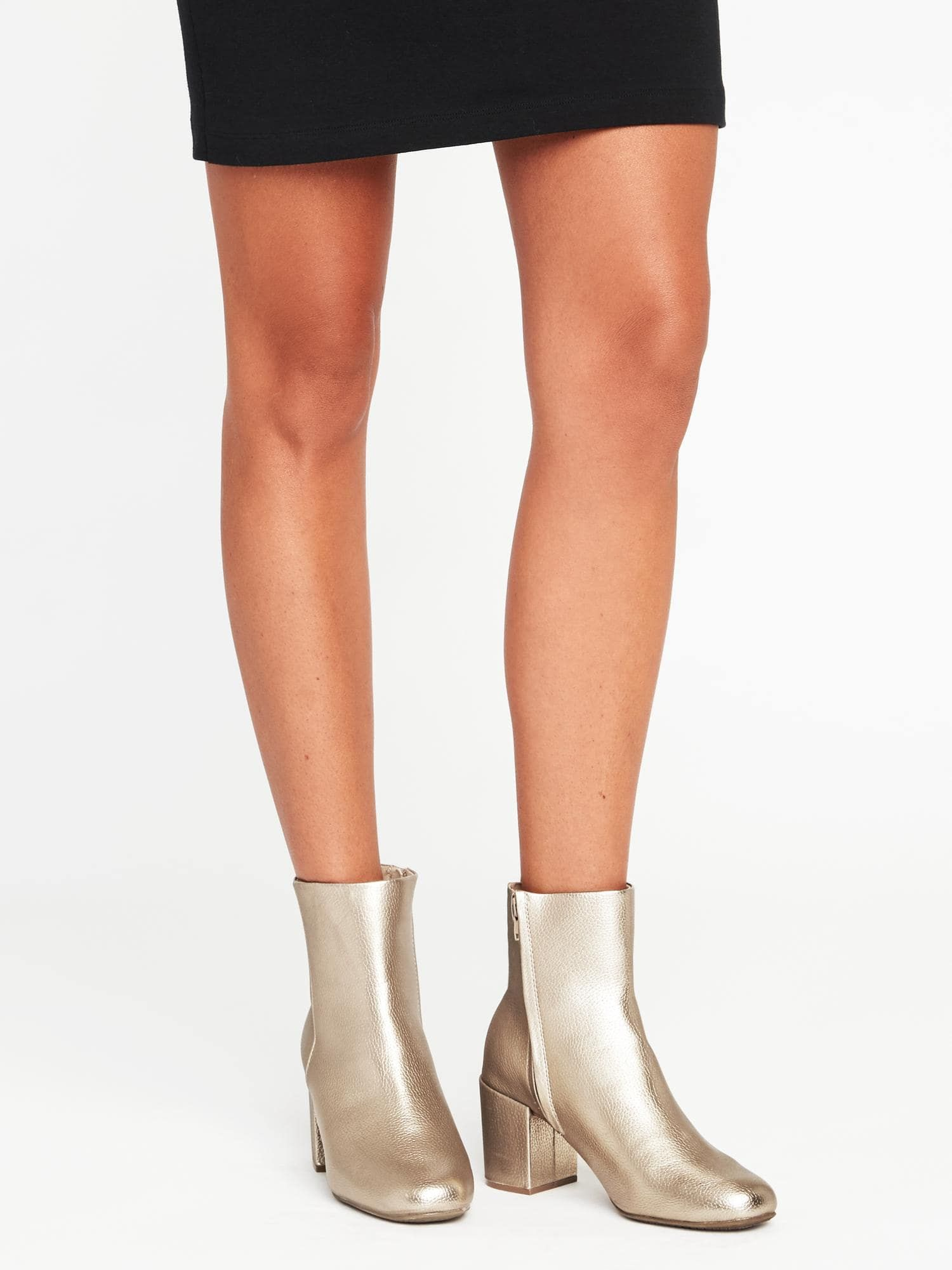 gold boots from old navy | Heel boots