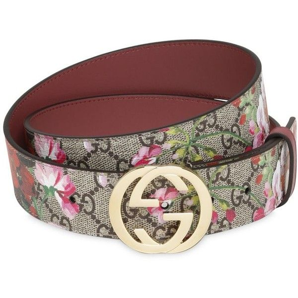 3035808981d Gucci Women 37mm Blooms Print Gg Supreme Belt ( 305) ❤ liked on Polyvore  featuring accessories