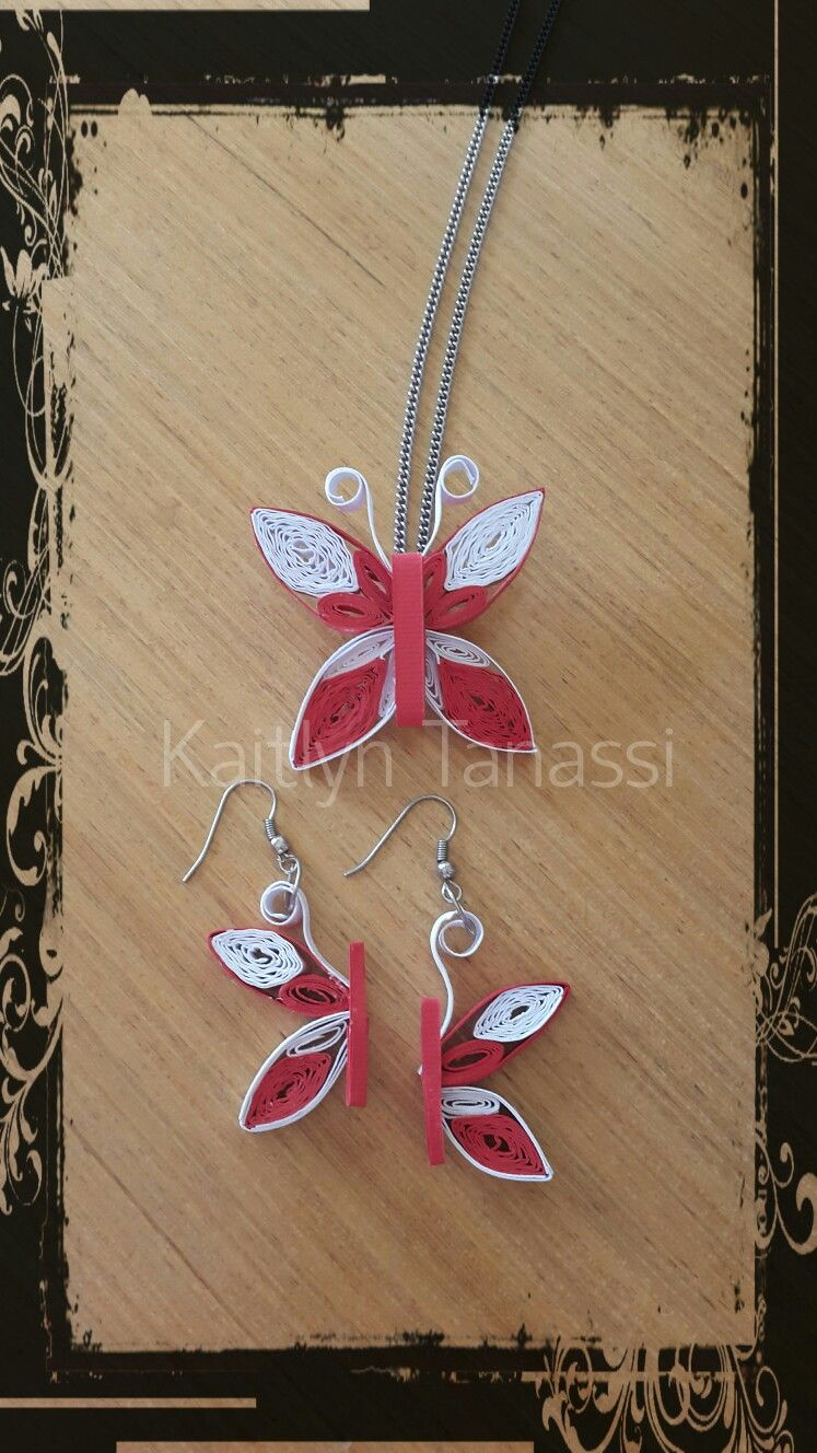 Quilled butterfly earrings and pendant handmade by kaitlyn tanassi