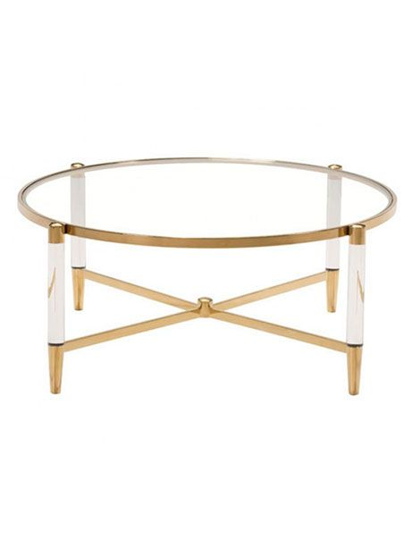 Clear Acrylic Gold Round Coffee Table Round Coffee Table Modern