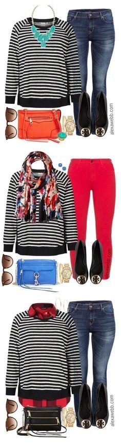 Plus Size Outfit Ideas - Striped Sweatshirt | Plus size outfits ...