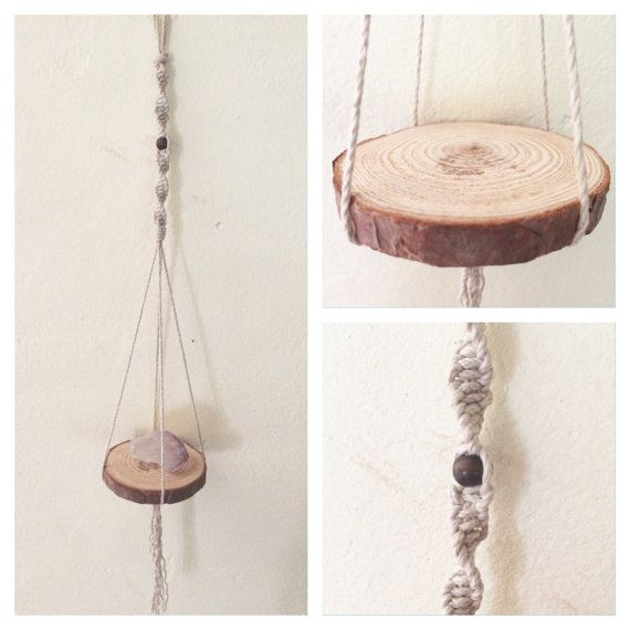 Creation to inspire... HANGING TREASURES  This handmade macrame hanging mini shelf was originally designed to hang my crystals around my home. But