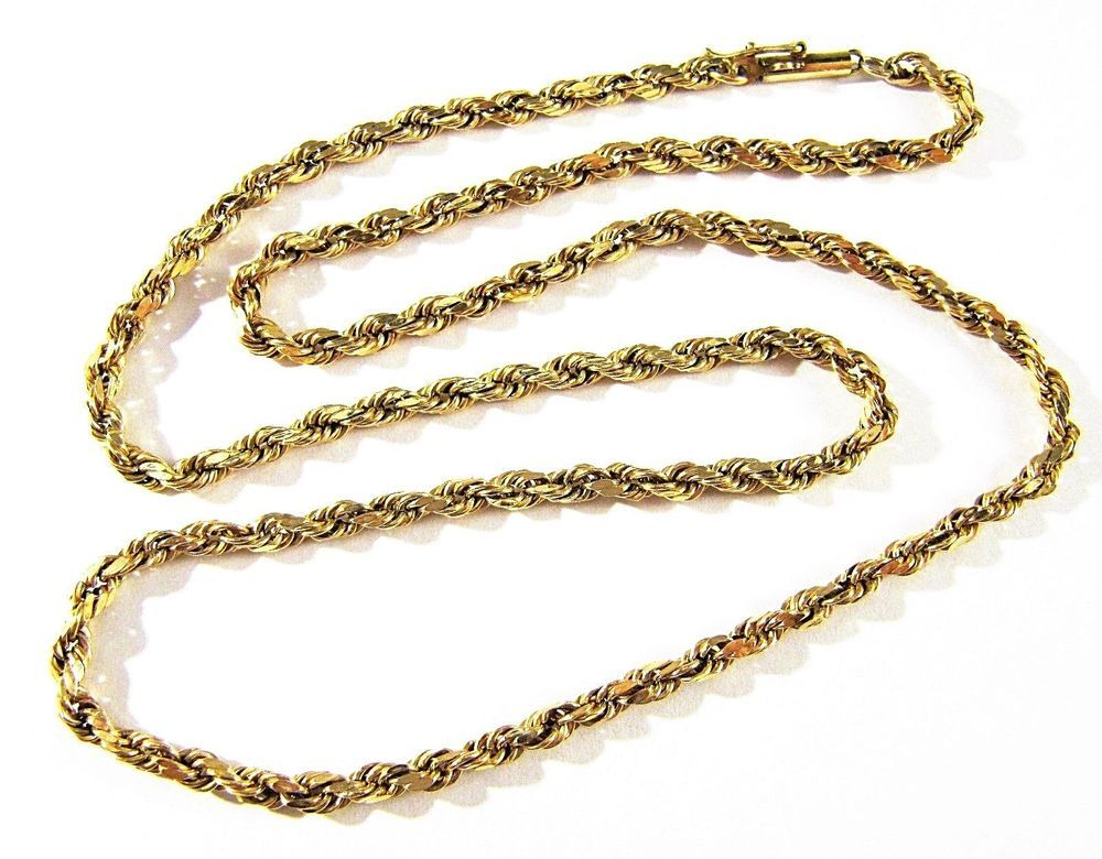 Estate Markd 10k Solid Yellow Gold 19 5 Long 4mm Rope Chain Necklace 5 1g Nice Rope Jewelry Jewelry Gifts Jewelry Gift Basket