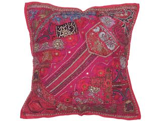 Magenta Square Large Floor Pillow Cover Handmade Beaded Pearl Euro