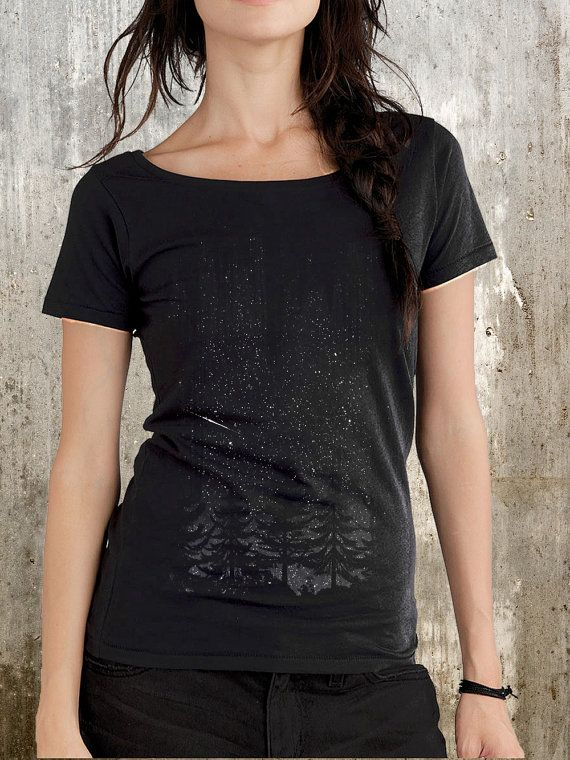 Night Sky with Stars and Trees- Women's Organic Cotton Scoop Neck T-Shirt - Available in S, M, L and XL
