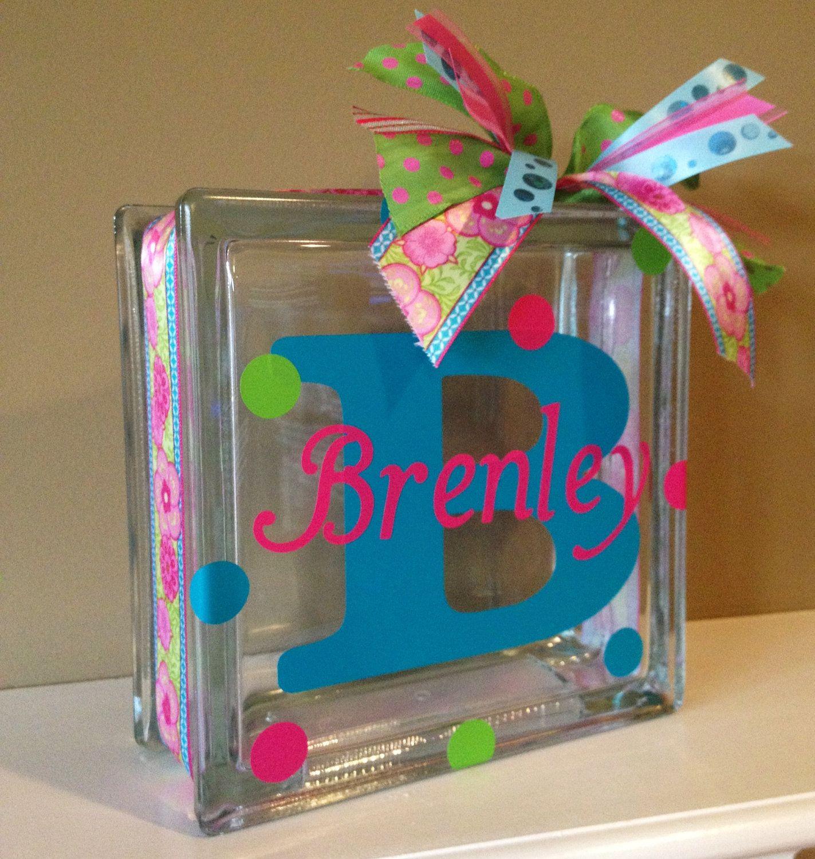 Personalized vinyl glass block light via etsy for Custom acrylic blocks