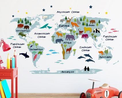 Kinder deko  Wandtattoo Weltkarte für Kinder - Deko fürs Kinderzimmer ...